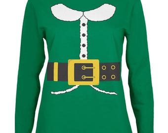 Holiday Elf Costume Green Womens Long Sleeve T-Shirt