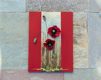 Red poppy clay sculpture,flower art object,scarlet poppy sculpture,Mixer media wall art,composition of flowers,