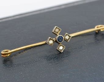 Victorian 9ct Yellow Gold, Diamond & Sapphire PASTE Cross Brooch / Lace Pin