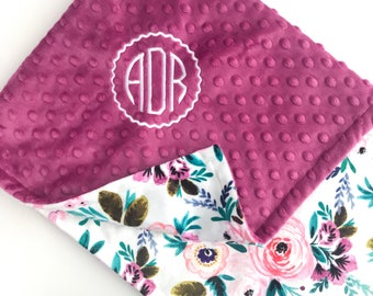 Personalized Baby Blanket - Monogrammed Baby Blanket - Minky Baby Blanket - Baby Blanket with Name - Floral Baby Blanket - Receiving Blanket
