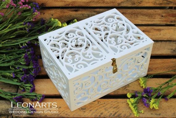 abschlie bare hochzeit karte box wei schatulle mit schloss. Black Bedroom Furniture Sets. Home Design Ideas