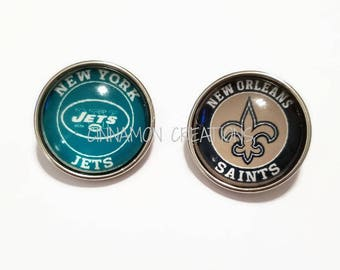 New Orleans Saints, New York Jets Glass Snap Charms/Buttons, Sports Team Snap Buttons, 18mm-20mm, Fits Ginger Snap & Noosa Snap Jewelry