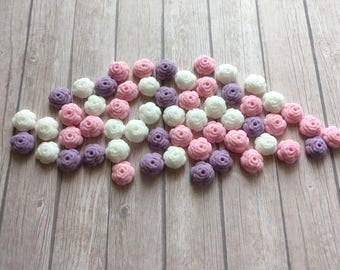 100 Edible fondant sugar Tiny Roses - Baby pink, lilac and white mix - Cupcake / Cake Toppers