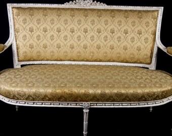 Rare Swedish Gustavian antique 3 seater ornate carved sofa