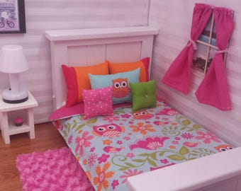 """Handmade -6-PC-bedding set Bright Owls Theme for American girl doll or any 18"""" dolls bed"""
