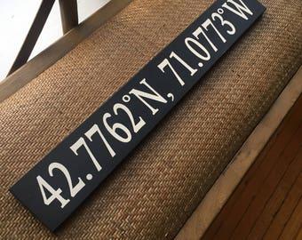 Haverhill, MA - Latitude/Longitude Navigational Handpainted sign