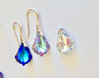 15mm Swarovski Elements earrings with 925 Silver Hooks CHOOSE COLOUR