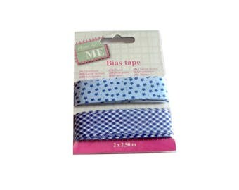 Bias sewing flower 2 x 2.50 m 2 cm wide light blue and Navy