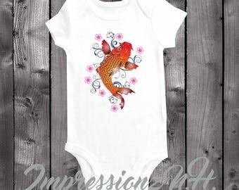 cute koi fish baby bodysuit one-piece shirt, fish, marine, aquarium, good luck shirt - good luck onesie - fish baby onesie