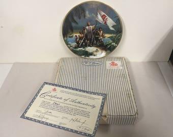 W L George Art Plate 500 Years of America 1492-1992 Columbus LE w Box COA Columbus Raises the Flag