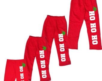 HO HO HO Red Pajama Pants for Family - Holiday Pj Pants for Men, Women - Playwear pants for kids