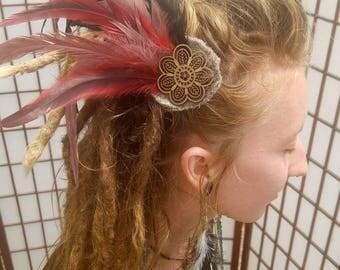 Red & Black Festival Hair Piece
