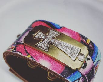Bling cross cuff upcycled from an Ed Hardy belt