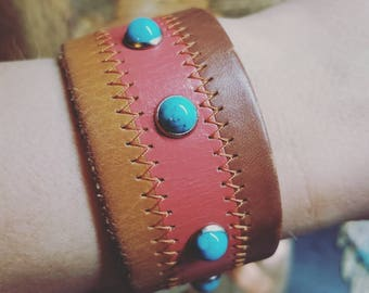 Boho chic studded turquoise cuff salmon and turquoise combination