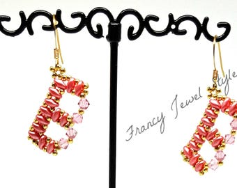 Cod B01 Earrings letter B (on request in various colors) height 2.5 cm or 3 cm