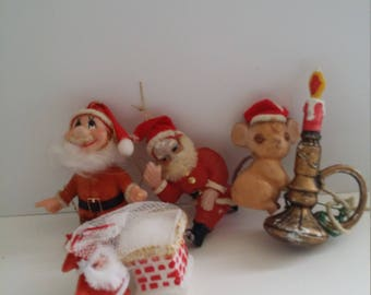 Christmas Tree Ornaments Flocked Vintage plastic Santa mouse candlestick Lot of 4