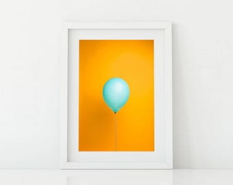 Teal Balloon on Yellow Pop Art - Bright and Fun Kids Artwork