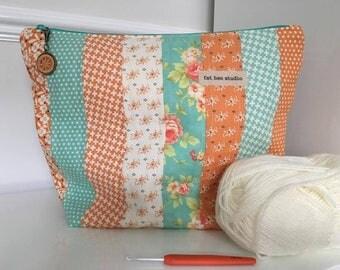 Unique Project Bag Handmade Zipper Pouch Knitting Crochet