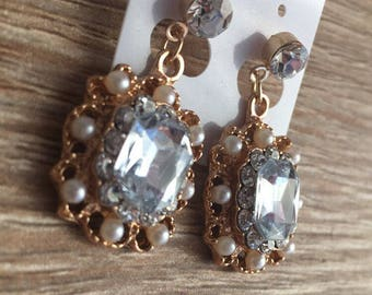 Gold Gem Drop Earrings Silver