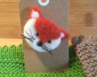 Needle felted Fox Brooches