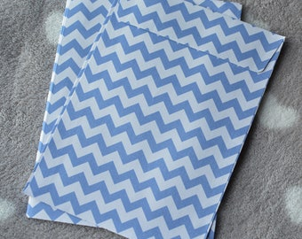 10 blue printed herringbone white C6 envelopes