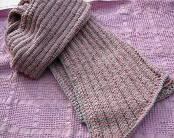 Pink grey striped with perforated dots scarf