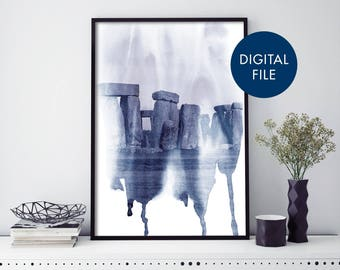 Stonehenge, England UK Watercolour Print Wall Art | Print At Home | Digital Download File