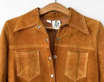 Vintage, Cowhide, Amber, Brown, Leather, Lined, Side-Slit, Snap Button, Button-Up, Collared, Mid-Weight, Jacket