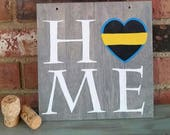 """HOME, Dispatcher gift for him wood plaque, law enforcement, Thin Yellow Line Wooden Sign, first responder dispatcher gift for her, 8""""x8"""""""
