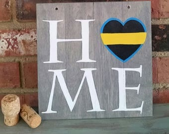 """HOME, Dispatcher artwork on wood plaque for sale, law enforcement, Thin Yellow Line Wooden Sign, first responder dispatcher gifts, 8""""x8"""""""