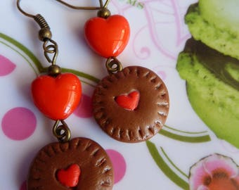Polymer clay cookie earrings and red heart bead