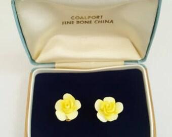 Coalport Fine Bone China Yellow Rose Clip Earrings - Boxed