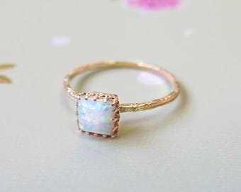 White Opal ring - solid Gold Opal Ring - white Opal - Small Opal Ring - Opal Ring - October Birthstone - Opal Jewelry - 14k Gold Ring