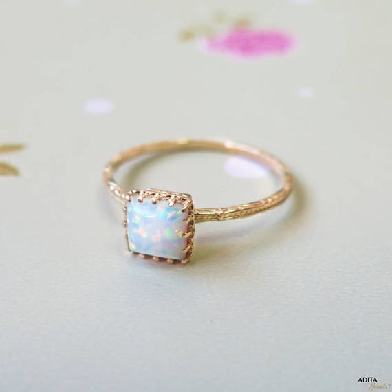 White Opal ring solid Gold Opal Ring white Opal Small