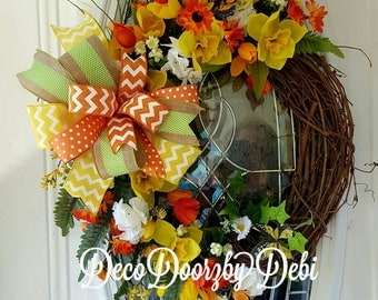 Summer floral grapevine wreath in yellow and orange