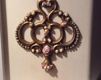 Vintage Salvaged Metal Wall Hanging  With Shells and Pearls, One of a kind Art
