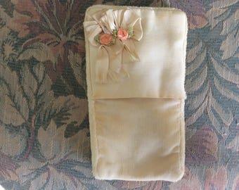 Vintage Powder Puff/ Mitt with Silk Ribbon Work