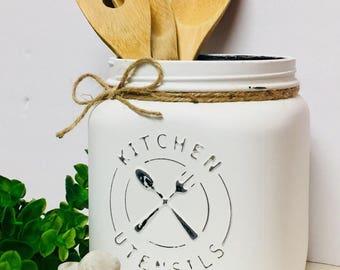 Utensil holder, mason jar utensil holder, kitchen storage, kitchen utensil holder, rustic utensil, Farmhouse  Decor, Mason Jar, Kitchen