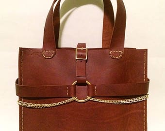 Medium Brown - Chain Accented - Leather Handbag