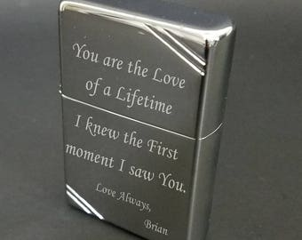 Photo Engraved Vintage High Polished Chrome Zippo Lighter - 260 - Customized with Free Text