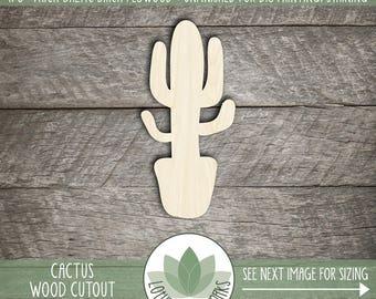 Cactus Wood Cut Shape, Unfinished DIY Laser Cut Shapes, Wood Southwestern Cactus, Potted Cactus