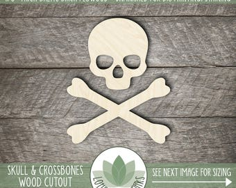Skull And Crossbones Laser Cut Wood Shape, Halloween Crafting Supply, Halloween Decor, Wood Skull And Crossbones Shape, Many Size Options
