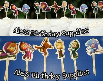 24 Pc Masha and the Bear Cupcake Toppers Double Sided Birthday Party Supplies