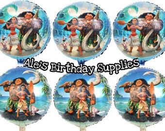 6 Pc Moana Balloons Party Birthday Supplies