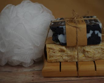 Soap Gift Set- Father's Day Gift Set- Natural Soap and Soap Dish with Bath Poof