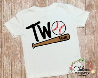 Second Birthday Baseball Shirt - Personalized Second Birthday Shirt-Baseball Toddler Shirt-Baseball Birthday Shirt-Two-Second Birthday Shirt