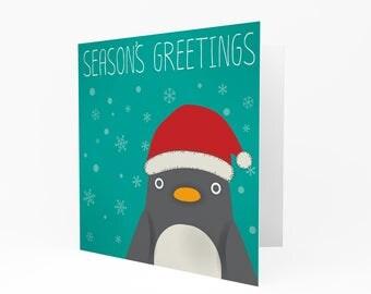 Christmas Card - Penguin Snow Santa Hat Blank Cute Seasons Greetings CS289