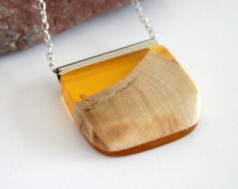 Boho, Bohemian Style, Geometric Necklace, Olive Wood & Yellow Resin Jewellery, Pendant, Long Necklace, Festival Accessory Gift