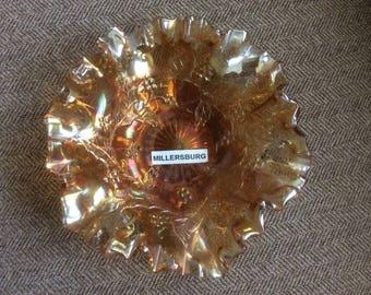 Carnival Glass Double Ruffled Marigold Bowl