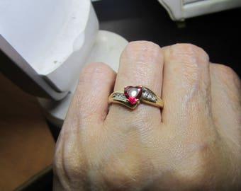 10KT Heart Shaped Ruby & Diamond Ring Size 7.5 Hallmark!